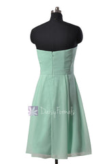 Short Strapless Chiffon Bridesmaid Dress Mint Formal Dress w/ Flowers(BM268A)
