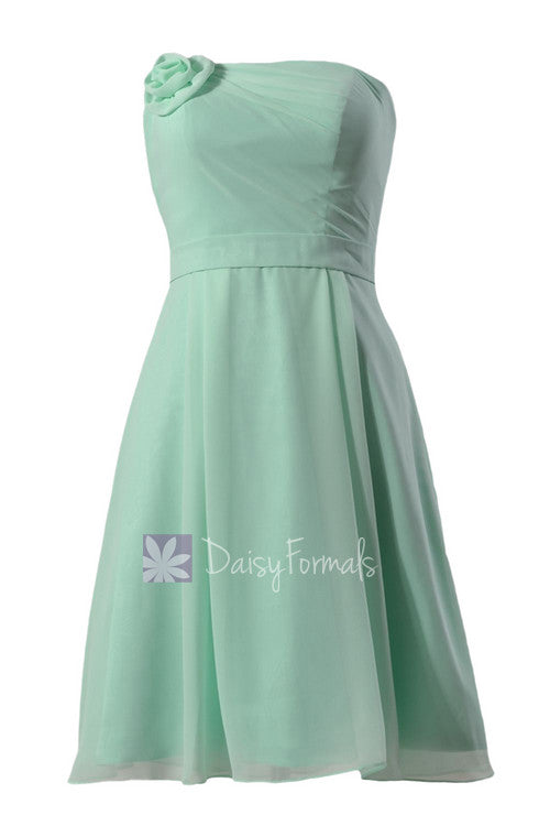Short strapless chiffon bridesmaid dress cheap mint formal dress w/ flowers(bm268a)