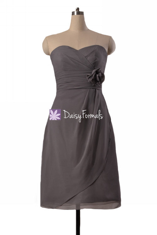 Elephant grey inexpensive chiffon bridesmaids dress knee length beach wedding party dress (bm270s)