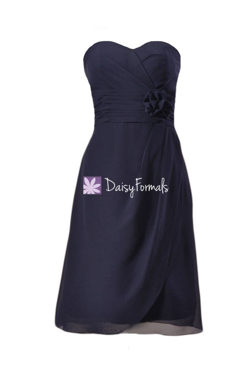 Dark navy chiffon bridesmaid dress online navy blue knee length dress prom dress (bm270)