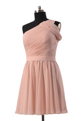 Quality pink chiffon bridal party dress online short one shoulder bridesmaid dresses(bm280)