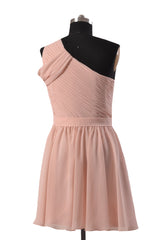 Quality Pink Chiffon Bridal Party Dress Short One Shoulder Bridesmaid Dress(BM280)