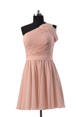 Quality pink chiffon bridal party dress online short one shoulder bridesmaid dress(bm280)
