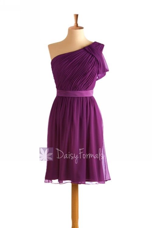 One shoulder short chiffon online bridesmaid dress purple formal dress(bm280)