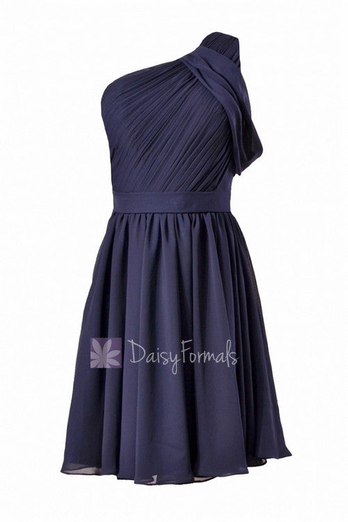 Chic navy chiffon one shoulder cocktail dress short bridal party dress w/ sash(bm280)