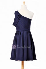 Chic navy chiffon one shoulder cocktail dress short bridal party dresses w/ sash(bm280)