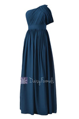 Quality long peacock blue best bridesmaid dress one shoulder chiffon formal dresses(bm281l)
