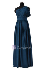 Quality long peacock blue best bridesmaid dress one shoulder chiffon formal dress(bm281l)
