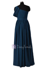 Quality Long Peacock Blue Bridesmaid Dress One Shoulder Chiffon Formal Dress(BM281L)