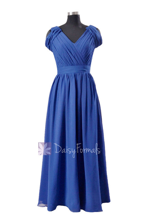 Sapphire floor length v-neck chiffon bridesmaid dress online evening dress(bm283)