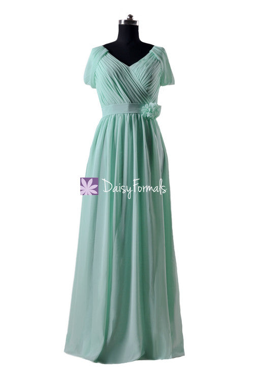 Long mint green elegant chiffon party dress v neckline evening dress lady formal dress (bm283la)