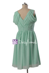 Pleated Mint Green Chiffon Bridesmaid Dress Short V-Neck Evening Dress(BM283S)