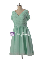 Pleated mint green chiffon bridesmaid dress online short v-neck formal evening dress(bm283s)