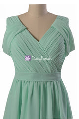 Gracious sea blue elegant chiffon party dress v neckline affordable bridesmaids dresses (bm283s)