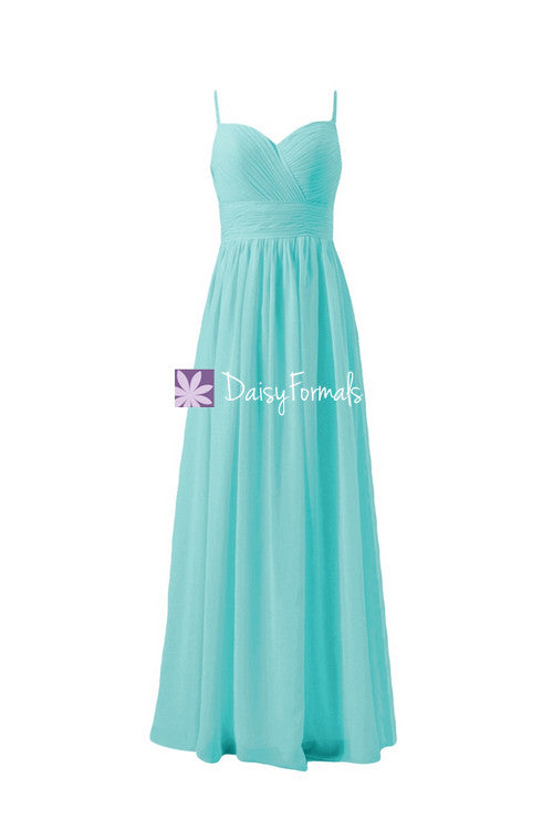 Full length turquoise blue chiffon party dress long sweetheart neckline formal dress (bm29023)