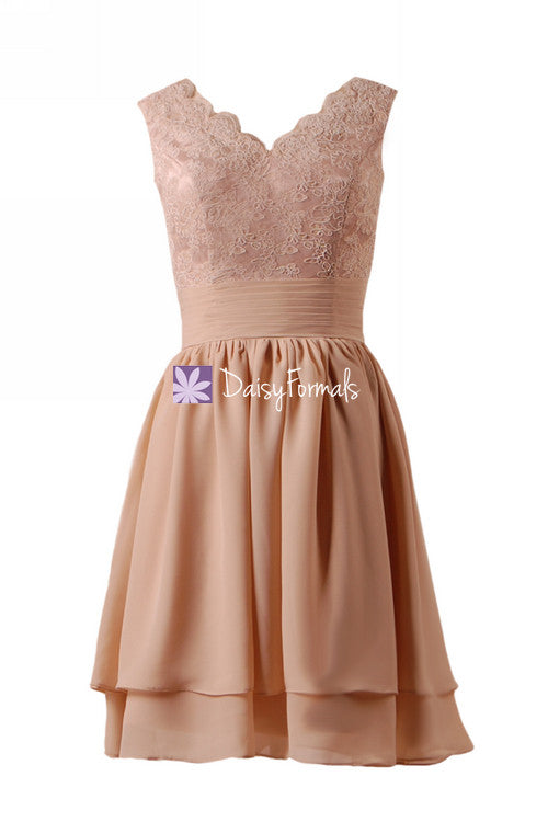 Dark quartz lace Dark quartz lace prom dress vintage peach party dress knee length bridal party dress online (bm29035)