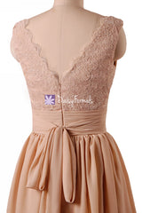 Dark Quartz Lace Prom Dress Vintage Peach Party Dress Knee Length Bridal Dress (BM29035)
