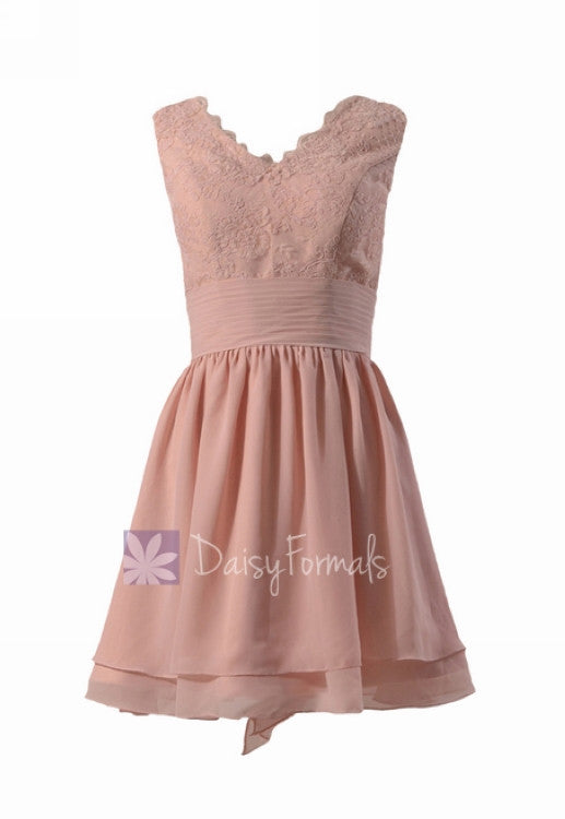 Amazing short lace bridesmaid dress linen v-neck discount formal dress w/flowing layers(bm29035)