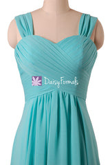 Aqua Blue Bridesmaid Dresses Long Chiffon Wedding Party Dress w/straps (BM313)