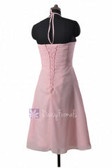Lavender chiffon party dress knee length cheap bridesmaid dress cocktail dresses (bm325)
