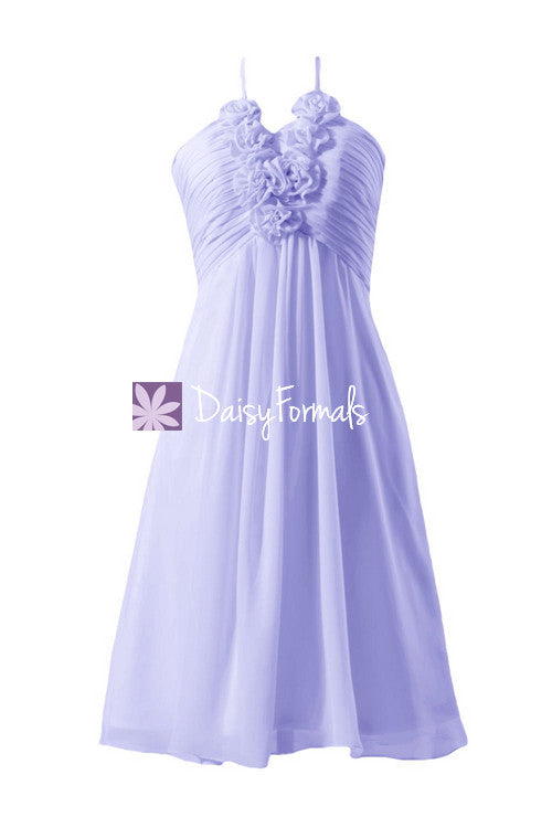 Lavender chiffon party dress knee length cheap bridesmaid dress cocktail dress (bm325)