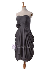 Sheath short gray unique bridesmaid dress slate gray cocktail dress prom dress(bm332)