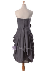 Sheath short gray unique bridesmaid dress slate gray cocktail dress prom dresses(bm332)