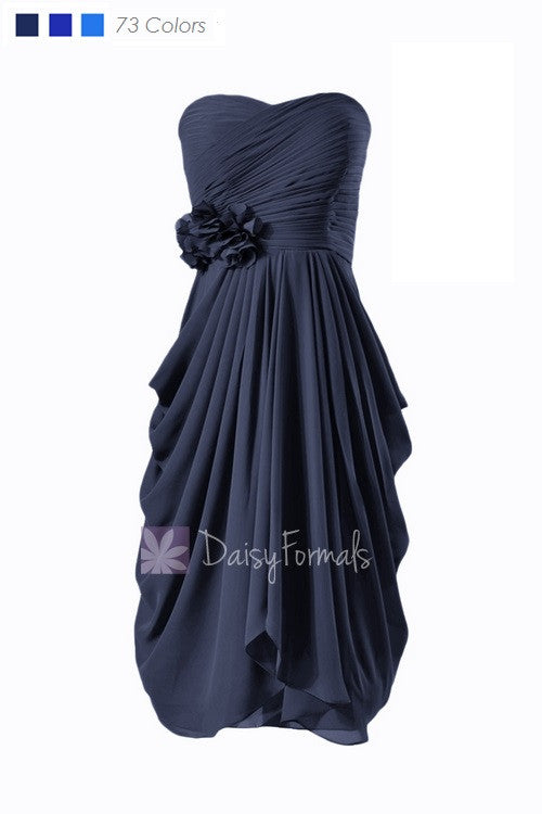 Sweetheart short chiffon discount bridesmaid dress navy blue bridal party dress formal dress(bm332)