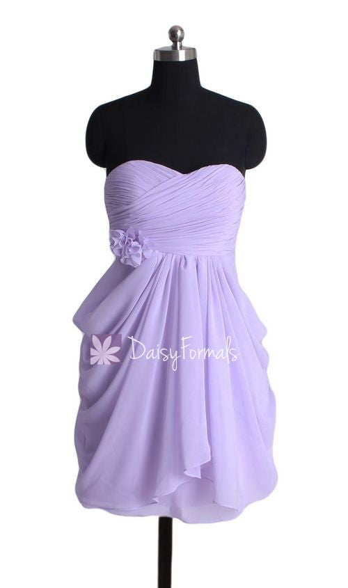 Strapless Lavender Chiffon Party Dress Junior Formal Dress Bridesmaids Dress (BM332)