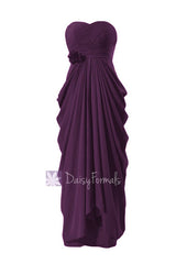 Floor length affordable chiffon bridesmaid dress sweetheart formal dress byzantium(bm332l)