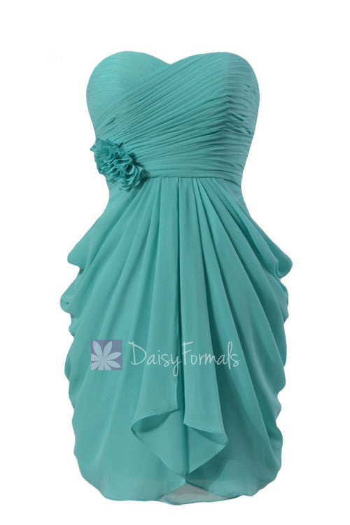 Delicate Chiffon Cocktail Dress Tiffany Blue Sweetheart Bridesmaid ...