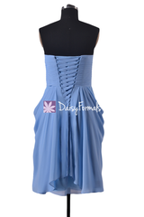 Symmetrical short party dress cocktail dress tiffany blue bridesmaid dresses online (bm332)