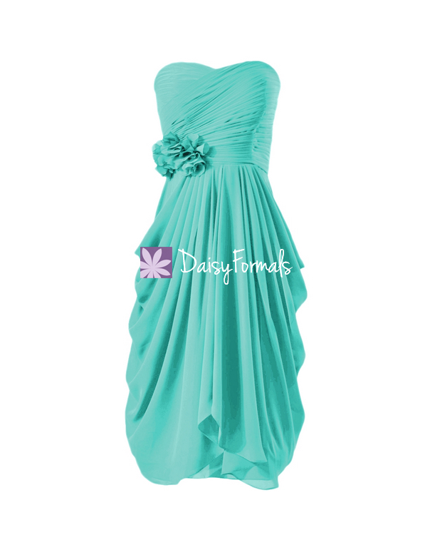Symmetrical Short Party Dress Cocktail Dress Tiffany Blue Bridesmaid ...