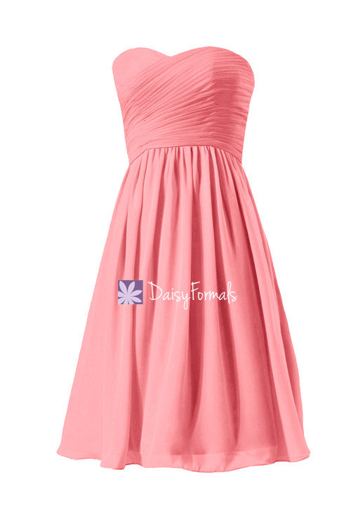 Inexpensive light coral chiffon bridesmaids dress knee length strapless party dress (bm333as)