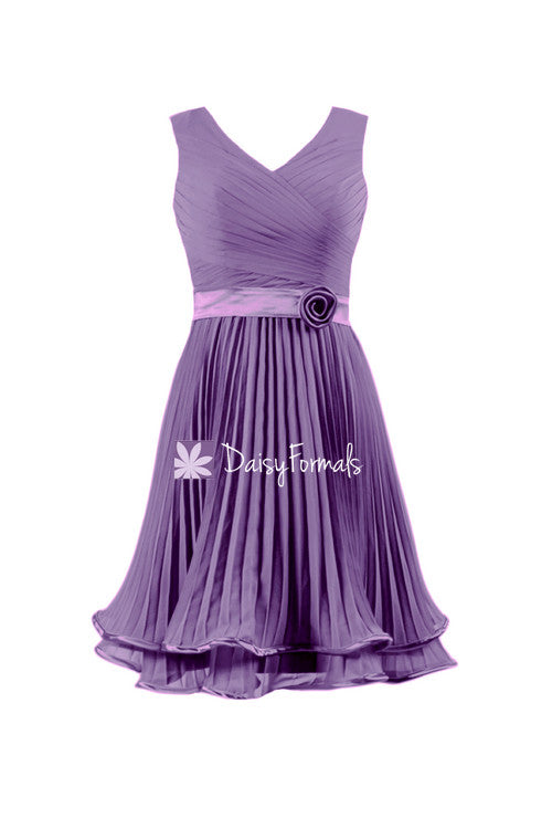 Dark wisteria v neckline party dress pale gray violet prom dress cocktail dress (bm334al)