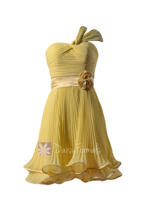 Banana pleated chiffon bridesmaid dress one-shoulder bridal party dress w/straps(bm334re)