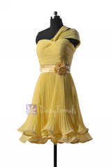 Banana pleated chiffon bridesmaid dress one-shoulder bridal party dresses w/straps(bm334re)