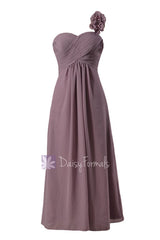 Long one shoulder elegant chiffon bridesmaid dress rose quartz formal dress(bm346)