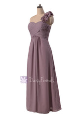 Long one shoulder elegant chiffon bridesmaid dress rose quartz formal dresses(bm346)