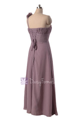 Long One Shoulder Chiffon Bridesmaid Dress Rose Quartz Formal Dress(BM346)