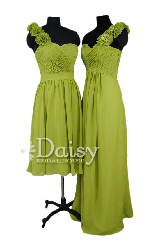 Long bright olive elegant chiffon dress one shoulder evening dress w/fabric flowers(bm346)
