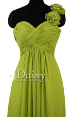 Long Bright Olive Chiffon Dress One Shoulder Evening Dress W/Fabric Flowers(BM346)