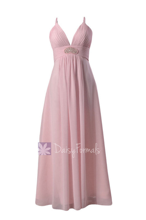 Ice pink long v-neck chiffon bridesmaid dress beaded prom dress(bm350)