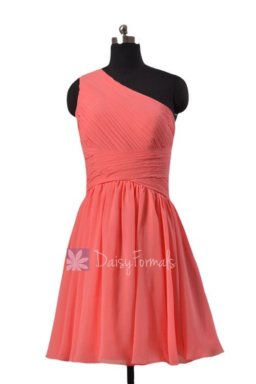 Hot knee length cheap chiffon formal dress light coral one shoulder affordable bridesmaid dress(bm351)