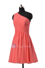 Hot knee length cheap chiffon formal dress light coral one shoulder affordable bridesmaid dresses(bm351)
