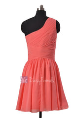 Hot Knee Length Chiffon Formal Dress Light Coral One Shoulder Bridesmaid Dress(BM351)