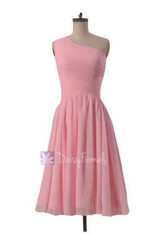 Lovely Short One Shoulder Chiffon Bridesmaid Dress Pleated Pink Formal Dress(BM351)