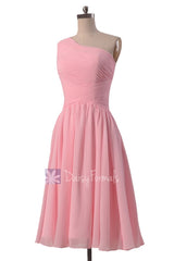 Lovely short one shoulder chiffon bridesmaid dress pleated pink discount formal dresses(bm351)