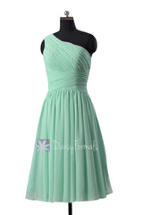 Hot! mint one-shoulder chiffon homecoming dress affordable knee length bridesmaid dresses(bm351)