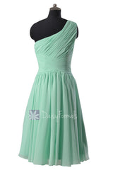 Hot! Mint One-Shoulder Chiffon Homecoming Dress Knee Length Bridesmaid Dress(BM351)